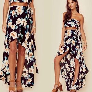 Revolve Blue Life floral wrap high low skirt S